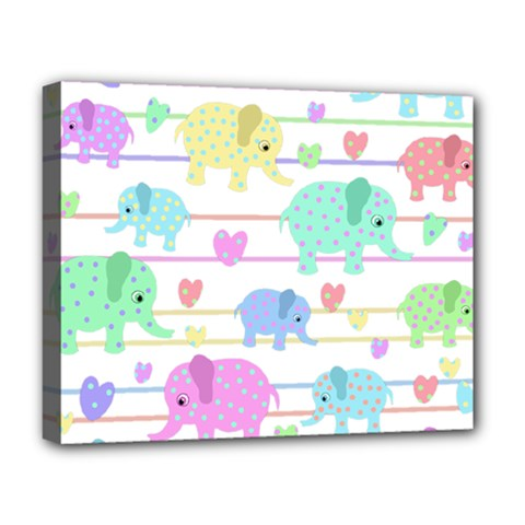 Elephant pastel pattern Deluxe Canvas 20  x 16