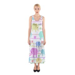 Elephant pastel pattern Sleeveless Maxi Dress