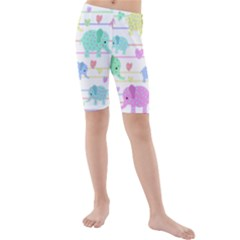 Elephant pastel pattern Kids  Mid Length Swim Shorts