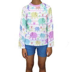 Elephant pastel pattern Kids  Long Sleeve Swimwear