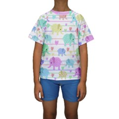 Elephant pastel pattern Kids  Short Sleeve Swimwear