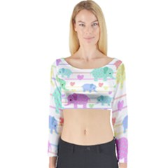 Elephant pastel pattern Long Sleeve Crop Top