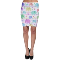 Elephant pastel pattern Bodycon Skirt