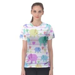 Elephant pastel pattern Women s Sport Mesh Tee