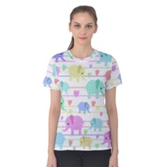 Elephant pastel pattern Women s Cotton Tee