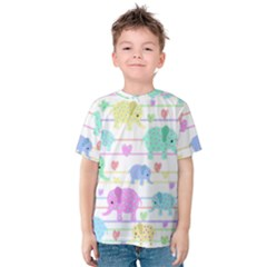 Elephant pastel pattern Kids  Cotton Tee