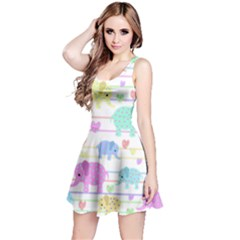 Elephant pastel pattern Reversible Sleeveless Dress