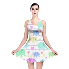Elephant pastel pattern Reversible Skater Dress