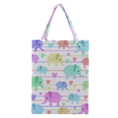 Elephant pastel pattern Classic Tote Bag