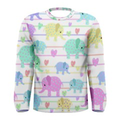 Elephant pastel pattern Men s Long Sleeve Tee