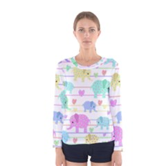 Elephant pastel pattern Women s Long Sleeve Tee