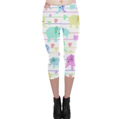 Elephant pastel pattern Capri Leggings