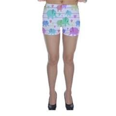 Elephant pastel pattern Skinny Shorts