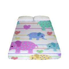 Elephant pastel pattern Fitted Sheet (Full/ Double Size)