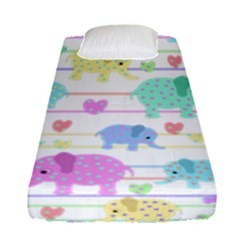 Elephant pastel pattern Fitted Sheet (Single Size)