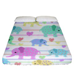 Elephant pastel pattern Fitted Sheet (Queen Size)