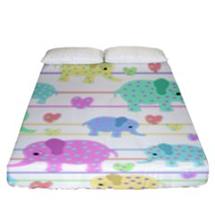 Elephant pastel pattern Fitted Sheet (King Size)
