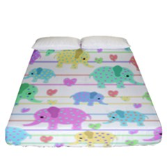 Elephant pastel pattern Fitted Sheet (California King Size)