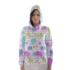 Elephant pastel pattern Hooded Wind Breaker (Women)