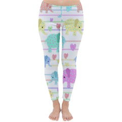 Elephant pastel pattern Classic Winter Leggings