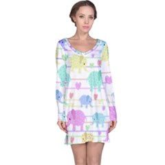 Elephant pastel pattern Long Sleeve Nightdress
