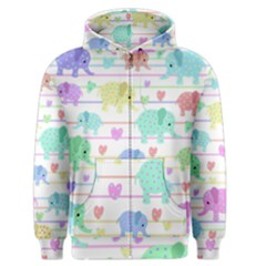 Elephant pastel pattern Men s Zipper Hoodie
