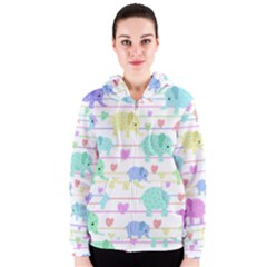 Elephant pastel pattern Women s Zipper Hoodie