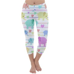 Elephant pastel pattern Capri Winter Leggings