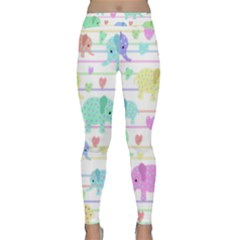 Elephant pastel pattern Classic Yoga Leggings