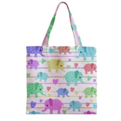 Elephant pastel pattern Zipper Grocery Tote Bag