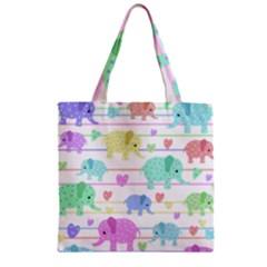 Elephant pastel pattern Zipper Grocery Tote Bag