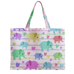Elephant pastel pattern Zipper Mini Tote Bag