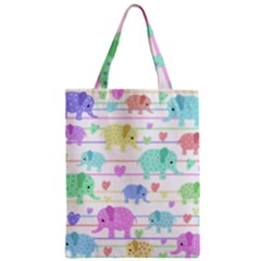 Elephant pastel pattern Zipper Classic Tote Bag