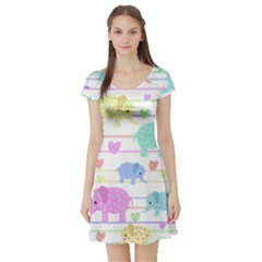 Elephant pastel pattern Short Sleeve Skater Dress