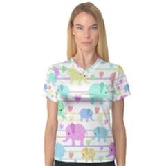 Elephant pastel pattern Women s V-Neck Sport Mesh Tee