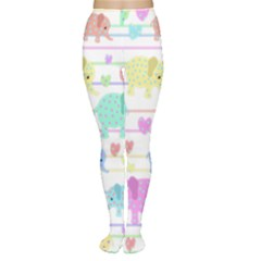 Elephant pastel pattern Women s Tights