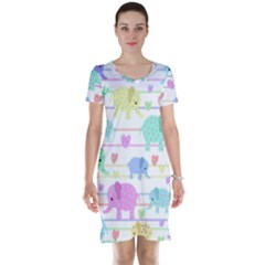 Elephant pastel pattern Short Sleeve Nightdress