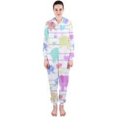Elephant pastel pattern Hooded Jumpsuit (Ladies)