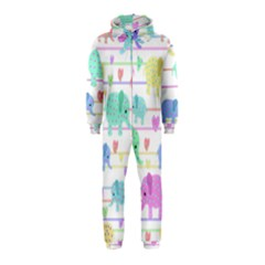 Elephant pastel pattern Hooded Jumpsuit (Kids)