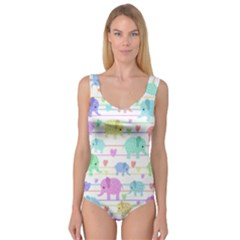 Elephant pastel pattern Princess Tank Leotard