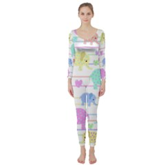 Elephant pastel pattern Long Sleeve Catsuit