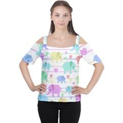 Elephant pastel pattern Women s Cutout Shoulder Tee