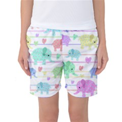 Elephant pastel pattern Women s Basketball Shorts