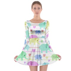 Elephant pastel pattern Long Sleeve Skater Dress