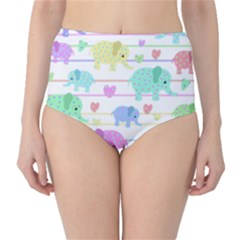 Elephant pastel pattern High-Waist Bikini Bottoms