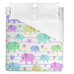 Elephant pastel pattern Duvet Cover (Queen Size)