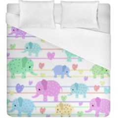 Elephant pastel pattern Duvet Cover (King Size)