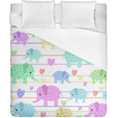 Elephant pastel pattern Duvet Cover (California King Size)