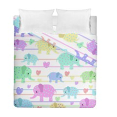 Elephant pastel pattern Duvet Cover Double Side (Full/ Double Size)