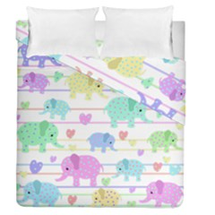 Elephant pastel pattern Duvet Cover Double Side (Queen Size)